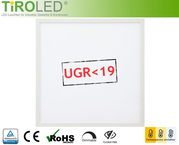 "60 x 60 cm LED Panel 3000/4000/6000 K einstellbar | 40 Watt | 4000 lm | UGR<19 | ohne Treiber | ""Evo Office 3"" by Tiroled"