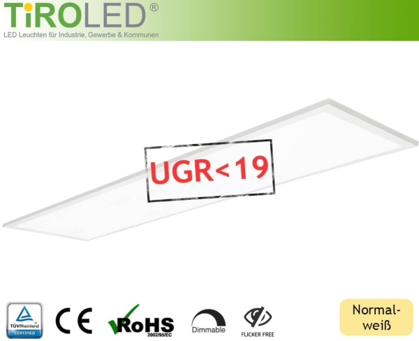 "30 x 120 cm LED Panel | normalweiß - 4000 K | 36 Watt | 4000 lm | UGR<19 | ohne Treiber | ""Evo Project 1"" by Tiroled"