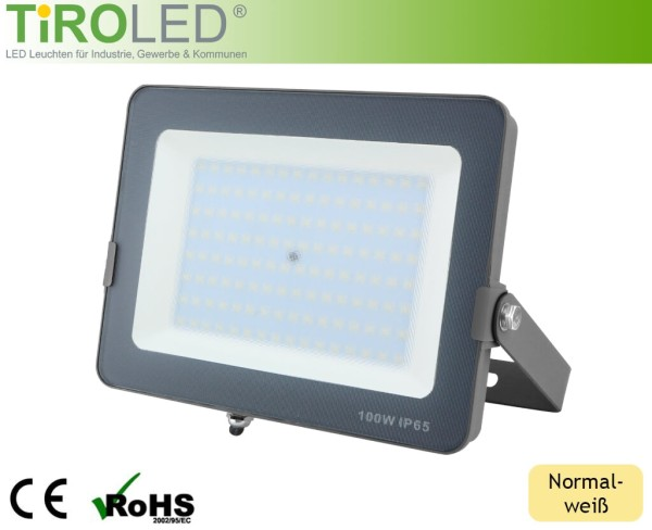 "100 Watt LED Strahler | 8000 lm | normalweiß - 4000 K | IP65 | ""Flat"" by Tiroled"