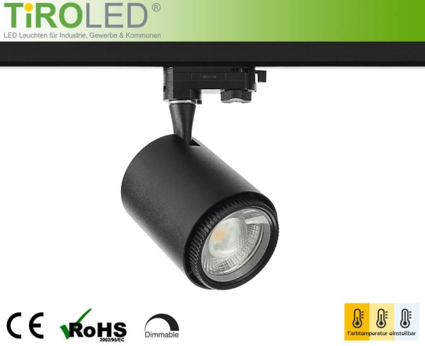 "LED 3-Phasen Schienenleuchte | 12 Watt | 2700/4000/5500 K einstellbar | 960 lm | dimmbar | CRI>90 | 20°-60° | schwarz | ""Vario 2 - all in one"" by Tiroled"