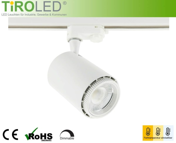 "LED 3-Phasen Schienenleuchte | 24 Watt | 2700/4000/5500 K einstellbar | 1900 lm | dimmbar | CRI>90 | 20°-60° | weiß | ""Vario 2 - all in one"" by Tiroled"